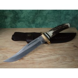 Couteau de Chasse Bowie Manche Bois de Cerf Lame en Acier 440 ss7001 - Livraison Gratuite