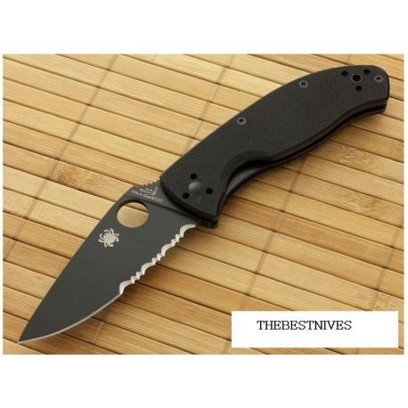 Couteau Spyderco Tenacious Black Acier 8Cr13MoV Manche Black G-10 SC122GBBKPS - Livraison Gratuite