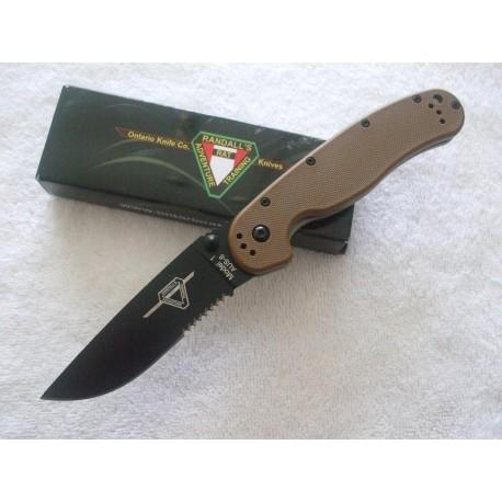 Couteau Ontario RAT 1 Tactical Manche Coyote Brown Lame Combo Acier AUS-8 ON8847CB - Livraison Gratuite
