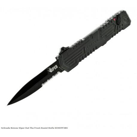 Couteau Automatique SCHRADE Viper OTF 3nd Generation Acier 4034 Black Serrat SCHOTF3BS - Livraison Gratuite