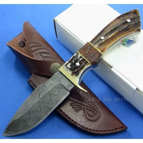 Couteau BOWIE DAMAS BOIS DE CERF DM1022