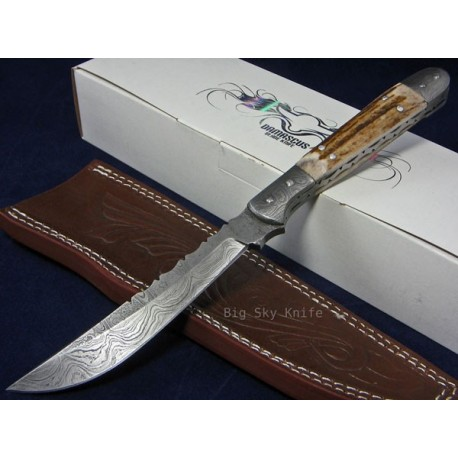 Couteau BOWIE DAMAS BOIS DE CERF DM1024