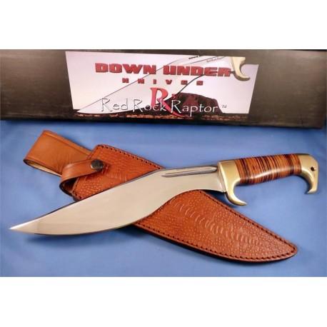 Couteau Kukri Down Under Knives Red Rock Raptor Down Under Knives Acier 440C manche Cuir DUKRRR - Livraison Gratuite