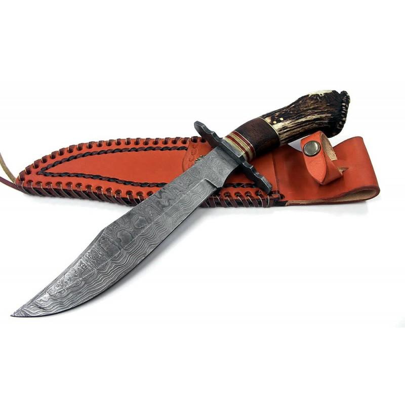 couteau de chasse bowie lame damas 256 couches manche bois de cerf dm1042 livraison gratuite. Black Bedroom Furniture Sets. Home Design Ideas