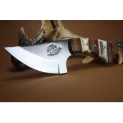 Couteau de Chasse Skinner Fox N Hound Manche Bois et Bois de Cerf Acier Carbone FH620 - Livraison Gratuite