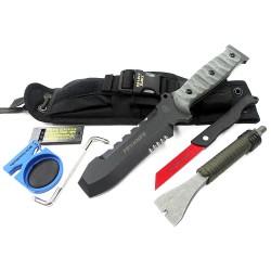 Tops Pry Knife Couteau de Secours Tops Knives Carbone 1095 Micarta + Pied Biche + Scie Made USA TPTPK001 - Livraison Gratuite