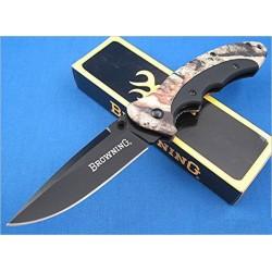 Couteau de Chasse BROWNING Mossy Oak Folder Lame acier Inox Manche Alu Camo BR276 - Livraison Gratuite