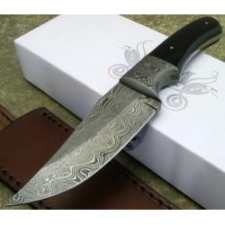 Couteau de Chasse Lame Damas 256 Couches Manche Os Garde Damas Etui Cuir DM1051HN - Livraison Gratuite