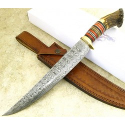 Couteau de Chasse Lame Damas 260 Couches Manche Bois de Cerf Etui Cuir DM1059 - Livraison Gratuite