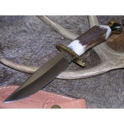 Couteau Skinner de Chasse Fox-N-Hound Lame Acier Chirurgical Manche Bois de Cerf FH333 - Livraison Gratuite