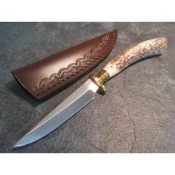 Skinner Couteau de Chasse Hunter Acier Carbone Manche Bois de Cerf Etui Cuir SS7018 - Livraison Gratuite