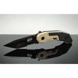 Couteau Automatique Smith&Wesson Military & Police Tanto Serrat Acier 4034 Teflon Manche Alu SWMP3BSD - Livraison Gratuite