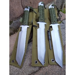 Lot de Couteaux de Brousse - 3 Couteau de Survie + Allume Feu Lame Tanto Acier Inox M3371 - Livraison Gratuite