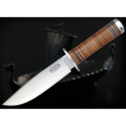 Couteau Bowie Fallkniven NJORD Northern Light Series Acier VG-10 Manche Cuir Made In Japan FKNL3