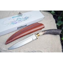 Skinner Couteau de Chasse Hunter Acier Carbone Manche Bois de Cerf Etui Cuir SS7016 - Livraison Gratuite