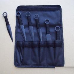 Lot de 6 Couteaux de Lancer de Ninja Acier Inox Black Etui nylon PA3334 - Livraison Gratuite