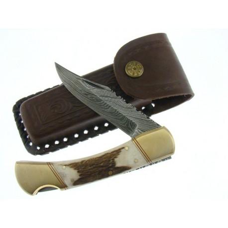 Couteau DAMAS DM1040 BOIS CERF PLIANT