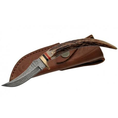Couteau DAMAS et BOIS DE CERF DM1028