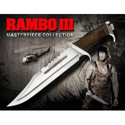 Couteau Rambo III Standard Edition Lame Acier Inox Manche Bois Etui Cuir RB9296 - Livraison Gratuite