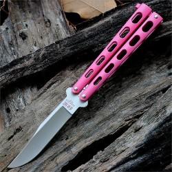 Couteau Papillon Balisong Bear & Sons Pink Acier 440 Manche Zinc Made In USA BC114PK - Livraison Gratuite