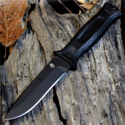 Couteau Tactical/Survival Gerber Strongarm Black Acier 420HC Manche Fibre Glass Made USA G1038 - Livraison Gratuite