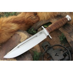 Couteau Bowie Bark River Teddy II Stacked Leather Acier A-2 Manche Cuir Etui Cuir Made In USA BA214L - Livraison Gratuite
