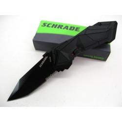Couteau Automatique Tactical Schrade Military Lame Tanto Acier 4034 Serrat Manche Alu SCHA3BS - Livraison Gratuite