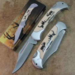 Lot de 3 Couteaux Deer Lockback Lame Acier Inox Manche Abs décor Cerf CN211163DE - Livraison Gratuite