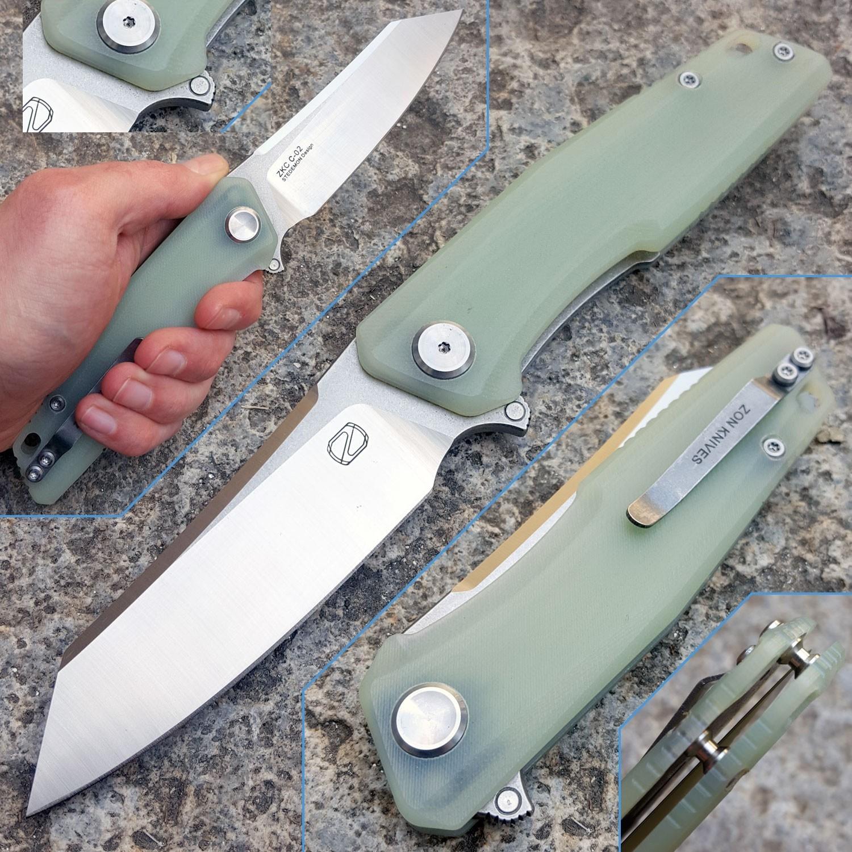 Couteau Stedemon ZKC C02 Jade G-10 Tanto Lame Acier 440C