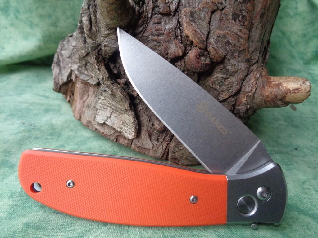 Couteau Automatique Ganzo Lame Acier 440C Manche Orange G7482OR