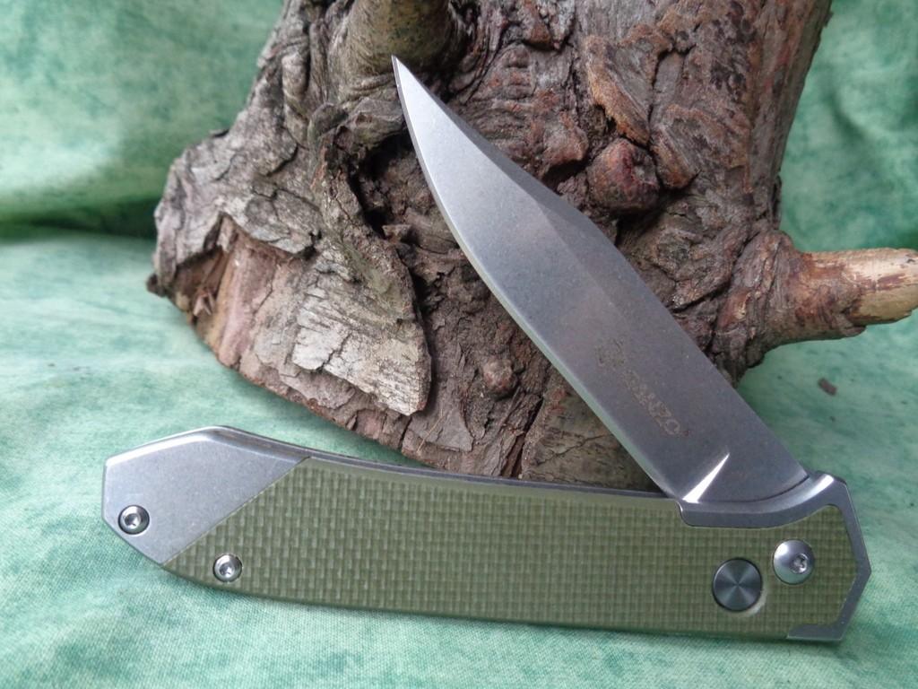 Couteau Automatique Ganzo Acier 440C Manche Green G-10 G719GR