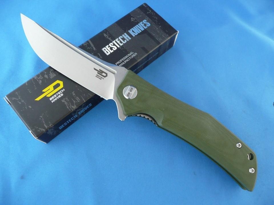 Couteau Bestech Knives Scimitar Lame Acier D2 Manche Green G-10